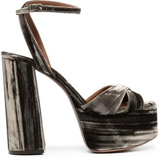 L'Autre Chose Velvet Platform Sandals