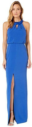 Halston Satin Neck Crepe Gown with Keyhole (Ultramarine) Women's Dress