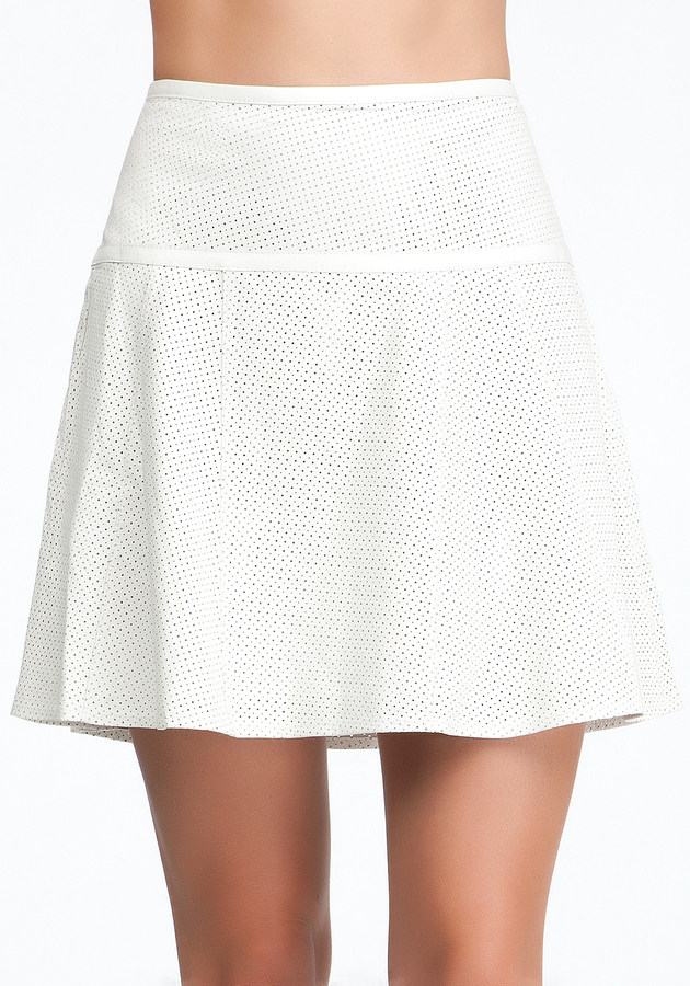 Bebe Perforated Leather Flounce Skirt
