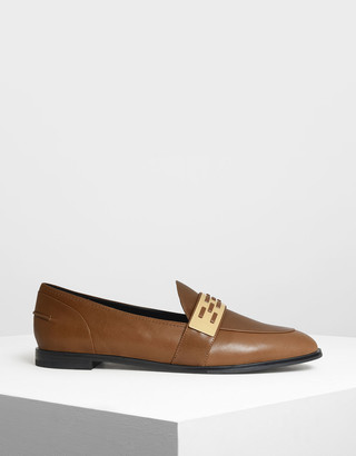 Charles & Keith Metallic Accent Loafers