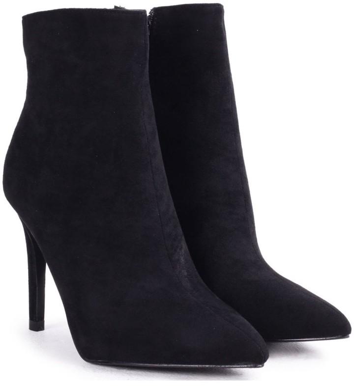 Linzi JASMIN - Black Suede Pointed Stiletto Boot Heel