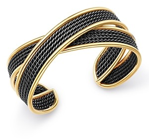 David Yurman Origami 18K Gold Narrow Crossover Cuff Bracelet with Blackened Sterling Silver