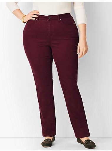 Talbots Plus Size Comfort Stretch High-Rise Straight-Leg Jeans - Curvy Fit/Merlot