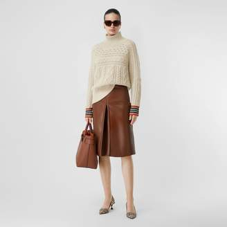 Burberry Icon Stripe Cuff Cable Knit Cashmere Sweater