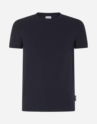 Dolce & Gabbana Round Neck Undershirt In Bi-Elastic Cotton Jersey
