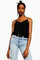 Topshop Womens V Neck Black Insert Cami - Black