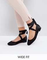 Asos LOVED UP Wide Fit Tie Leg Ballet Flats