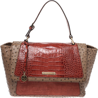 Escada Beige/Antique Rose Ostrich and Crocodile Embossed Leather Flap Top Handle Bag