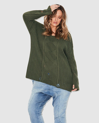 17 Sundays Distressed Cable Knit Jumper