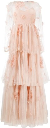 RED Valentino Floral Applique Tiered Dress