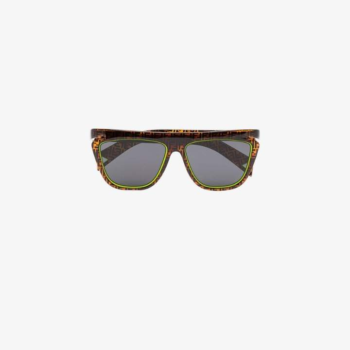 Fendi Mens Eyewear Brown And Yellow Monogram Square Sunglasses