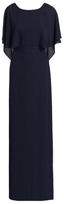 Halston Cape-Sleeve Draped Gown
