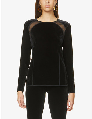 Wolford Blake mesh-panel stretch-jersey and velvet top