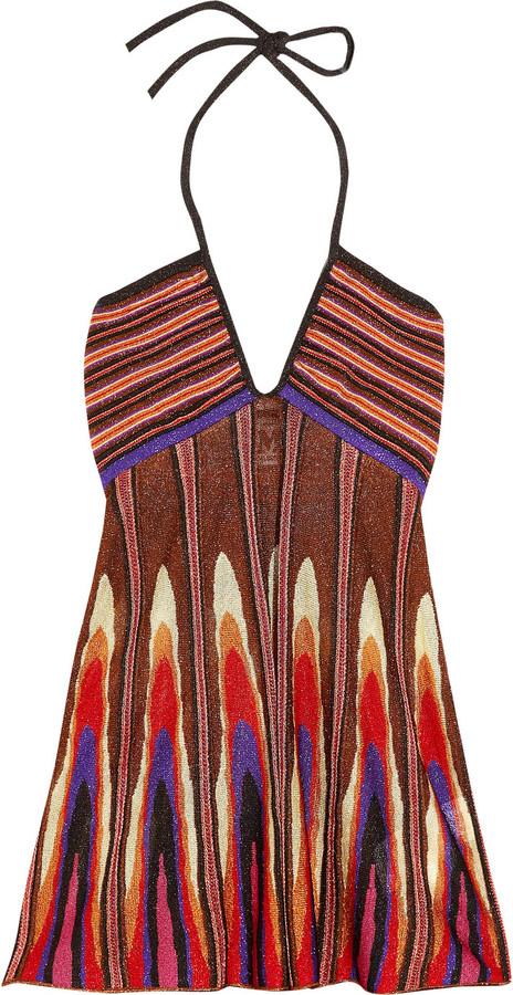 M Missoni Metallic crochet-knit halterneck top