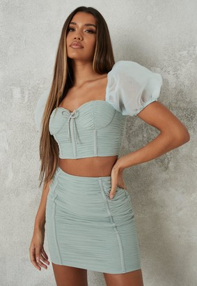 Missguided Mint Co Ord Mesh Ruched Diamante Bow Milkmaid Top