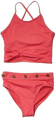 Habitual Contrast Stitching Two-Piece (Big Kids) (Dark Pink) Girl's Swimwear Sets