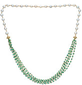 Forever Creations Usa Inc. Forever Creations 18K Over Silver 25.00 Ct. Tw. Emerald & Pearl 30In Necklace