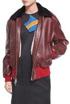 CALVIN KLEIN 205W39NYC Leather Bomber Jacket with Shearling Lining