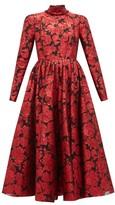Erdem Tedora Metallic-floral Silk-blend Dress - Womens - Red