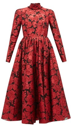 Erdem Tedora Metallic-floral Silk-blend Dress - Red