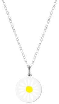 "Auburn Jewelry Mini Daisy Pendant Necklace in Sterling Silver, 16"" + 2"" Extender"
