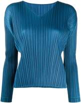Pleats Please Issey Miyake micro-pleated V-neck top