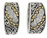 Effy Jewelry Effy 925 Sterling Silver and 18K Yellow Gold Diamond Earrings, 0.12 TCW