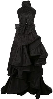Oscar de la Renta Ruffled Asymmetric Silk Gown