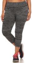 ShoSho Women's Plus Size Space Dye Quick Dry Capri Leggings-XL/2XL