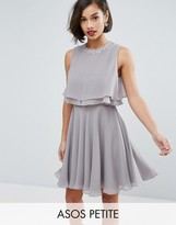 Asos Embellished Trim Double Ruffle Crop Top Skater Dress