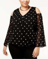 INC International Concepts Plus Size Cold-Shoulder Surplice Top, Only at Macy's