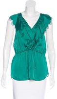 Rebecca Taylor Sleeveless Ruffle-Trimmed Top