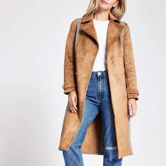 River Island Womens Petite Brown check belted trench coat
