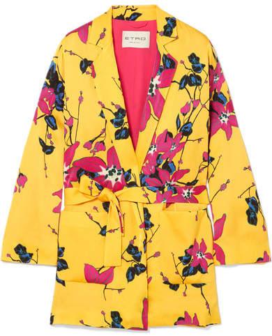 Etro Floral-print Crepe Blazer - Yellow
