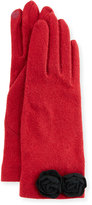Portolano Rosette-Cuff Tech Gloves, Wine/Brown