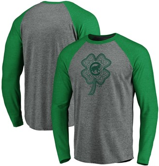 Men's Fanatics Branded Gray/Kelly Green Chicago Cubs St. Patrick's Day Paddy's Pride Raglan Long Sleeve T-Shirt