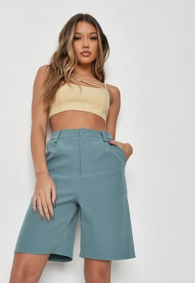 Missguided Teal Co Ord Pocket Tailored Bermuda Shorts