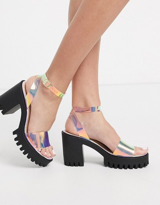 Public Desire Nixie chunky cleated platform block heel sandal in irridescent