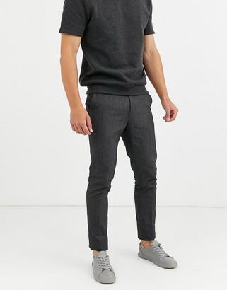 Ben Sherman herringbone slim fit trousers-Grey