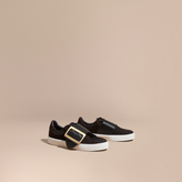 Burberry Oversize Buckle Detail Suede and Leather Trainers