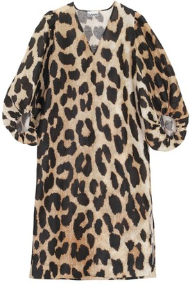 Ganni Leopard Silk & Linen Shift Dress