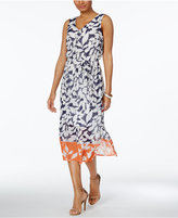 Nine West Printed Self-Tie Midi Dress