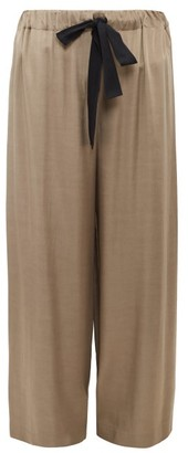 Raey Elasticated Drawstring-waist Satin Trousers - Womens - Grey