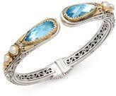 Konstantino Amphitrite 3MM-4MM White Freshwater Pearl, Blue Topaz, 18K Gold & Sterling Silver Etched Bracelet