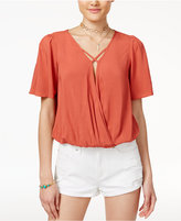 Love, Fire Juniors' Crisscross-Strap Surplice Blouse