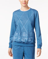 Alfred Dunner Quilted Embroidered Sweatshirt