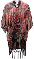 Joseph Ribkoff Fringe Print Kimono
