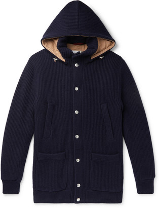 Brunello Cucinelli Padded Ribbed Cashmere Hooded Cardigan