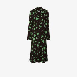 Ganni Floral Print Midi Shirt Dress