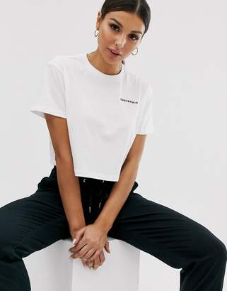 Converse White Dropped Shoulder Crop T-Shirt